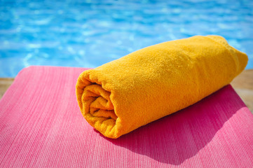 towel on a sunbed, beach
