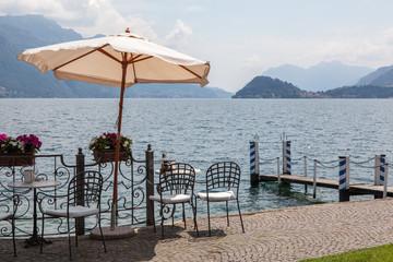 Cafe on promenade in Menaggio, Como lake