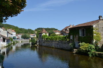 river Dronne passing through the village of Brantome, France