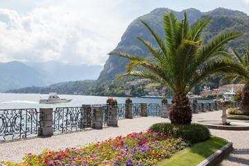 Promenade in Menaggio on Como lake,