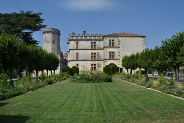 Garden and Renaissance part of the Bourdeilles castle, France