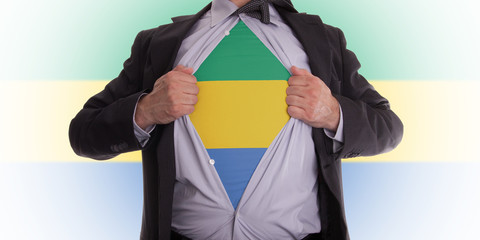 Businessman with Gabon flag t-shirt