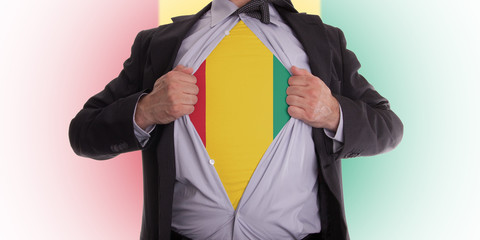 Businessman with Guinea flag t-shirt