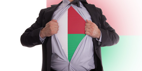 Businessman with Madagascar flag t-shirt