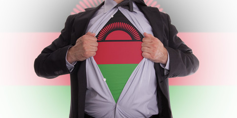 Businessman with Malawi flag t-shirt