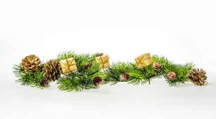 Christmas composition of tree branches and gifts