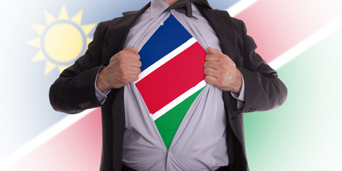 Businessman with Namibia flag t-shirt