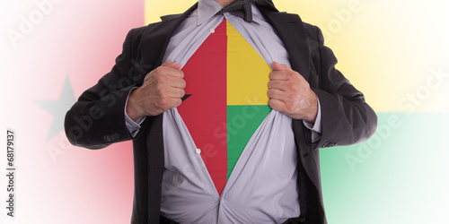 Businessman with Guinea-Bissau flag t-shirt