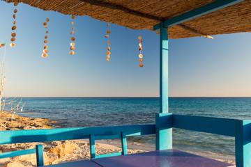 Terrace near the sea in Formentera beach
