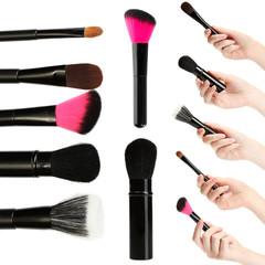 Make-up brushes collage isolated on white
