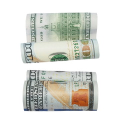 set one hundred dollar bill isolated on white