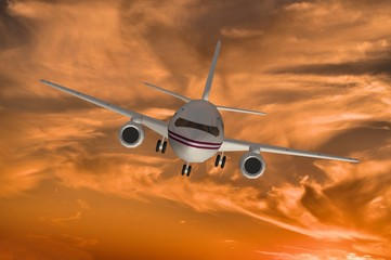 3d model of airplane on sunset sky