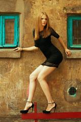 High heels and little black dress concept