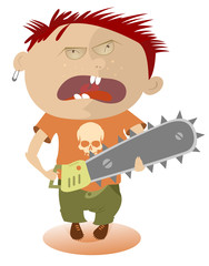 Angry kid holding a chainsaw