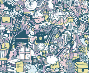 Seamless pattern with home related objects. Hand drawn vector.