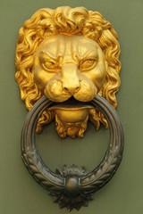 old fashion golden lion's head knocker
