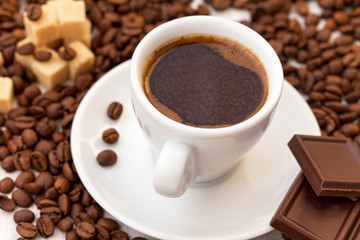 Turkish coffee with chocolate bar