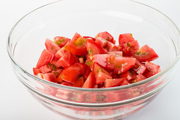 sliced ​​tomato slices in a bowl