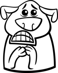 terrified dog cartoon coloring page