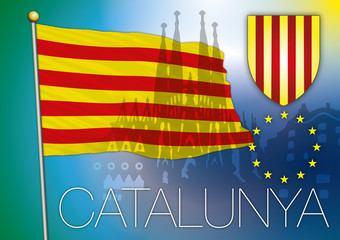 catalonia flag and coat of arm