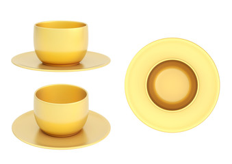 Set of ceramic cup and plate isolated