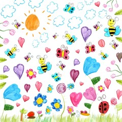meadow scribbles - child drawings background