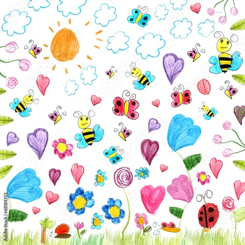 meadow scribbles - child drawings background - 68184353