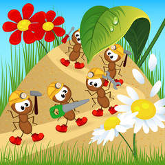 ants builders with tools - vector illustration, eps