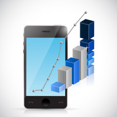 phone business graph illustration design