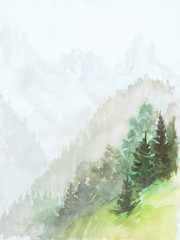 Alpine motif painting in watercolor