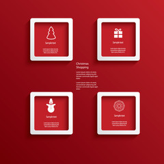 Christmas web or infographic elements in white frames