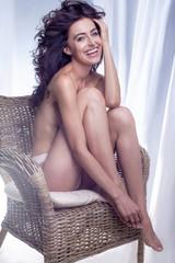 Happy sexy brunette woman.