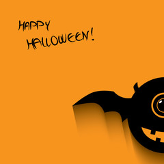Halloween card with happy smile monsters
