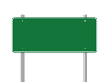 Blank green traffic road sign