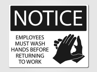 Employees must wash vector sign