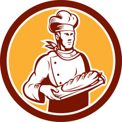 Chef Cook Holding Bread Woodcut Retro