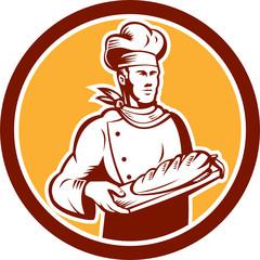 Chef Cook Holding Bread Woodcut Retro