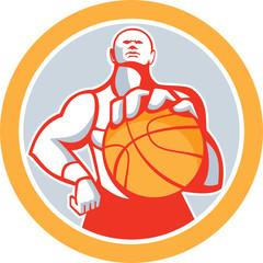 Basketball Player With Ball Circle Retro