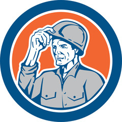 Builder Carpenter Tipping Hardhat Circle Retro