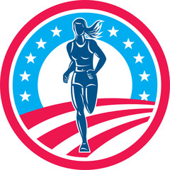 American Female Triathlete Marathon Runner Circle