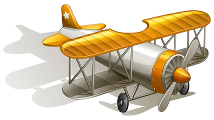 A vintage orange and gray coloured plane