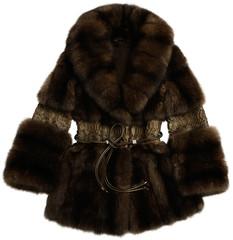 Fur coat brown with a belt