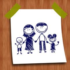 Dessin au stylo : famille