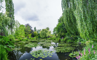 Giverny, France. Wonderful panoramic view of Monet's garden and