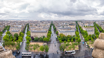 Paris. Aerial view of Northeastern city side from Arc de Triomph