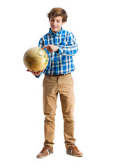 teenager holding a world globe