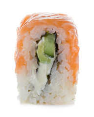 Philadelphia maki sushi isolated on a white background