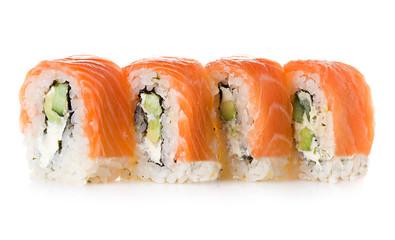 Philadelphia maki sushi isolated on a white background