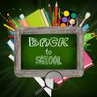 School supplies with blackboard
