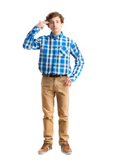 young boy suicide gesture
